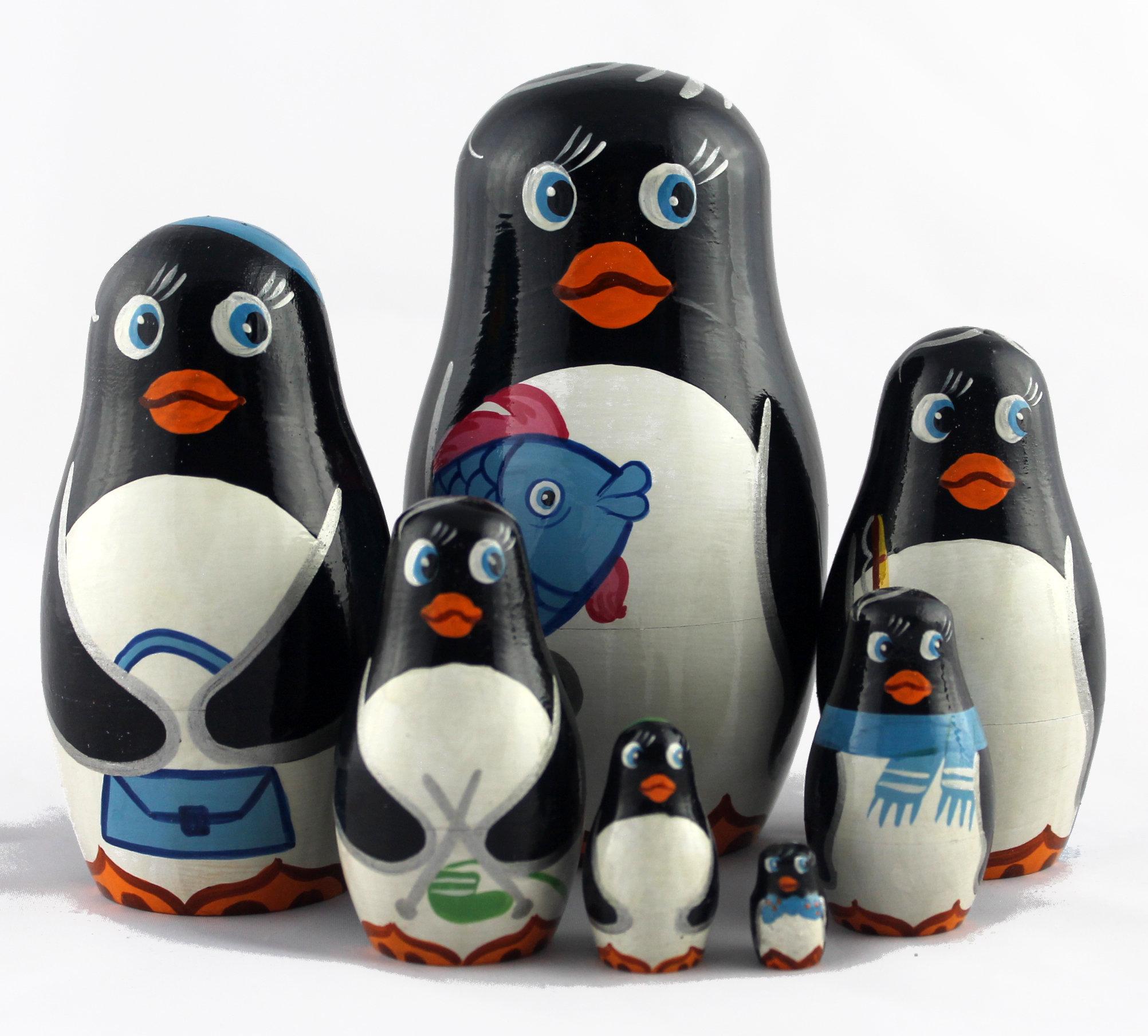 pinguine matrjoschka babuschka holzwohnkultur brut stapeln puppen geschenke souvenirs aus. Black Bedroom Furniture Sets. Home Design Ideas