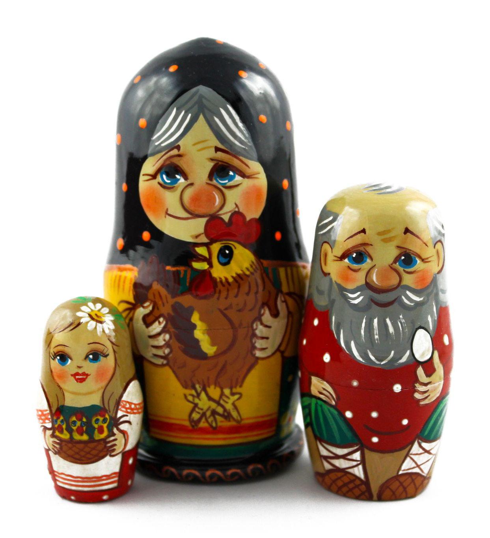 eine traditionelle russische matroschka aus holz nesting dolls mit huhn set 3pc eur. Black Bedroom Furniture Sets. Home Design Ideas